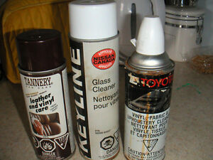 car cleaners and frosted glass finish spray cans