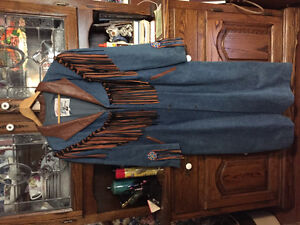 Gorgeous DENIM LEATHER COAT WITH LOTS OF BEADING AND FRINGES Windsor Region Ontario image 1