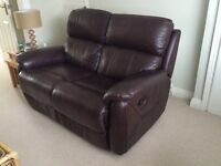 2 two seater walnut recliner leather sofas