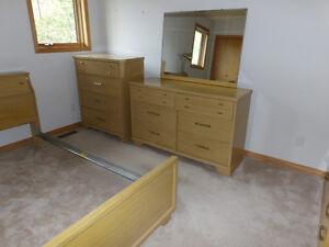 Bedroom Suite bed frame, dresser & mirror, bureau & cedar trunk