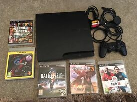Playstation 3, controller, all wires and 5 games