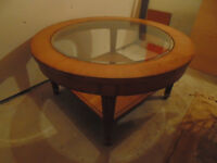 Wooden Coffee Table w/ Glass Top