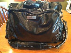 Jujube Be Prepared Black Leather Diaper Bag