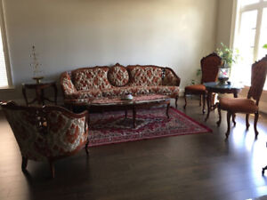 Sofa set with side tables and coffee table