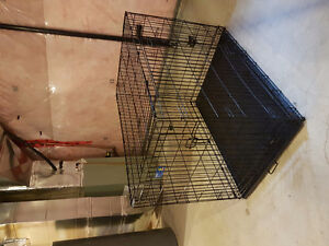 Large folding double door dog crate