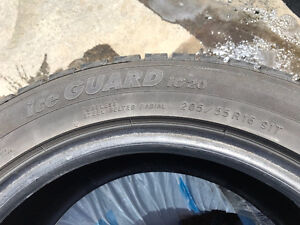 Set of 4 Yokohama winter tires. 205/55R16