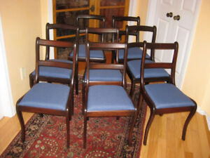Eight Refinished Antique Dining Chairs, New Upholstery, Table
