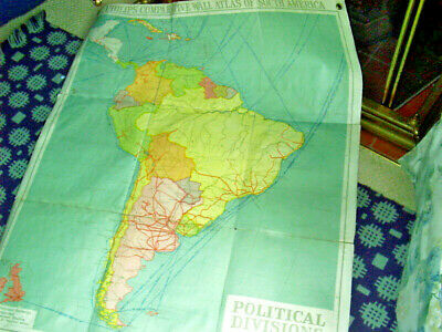PHILIPS' COMPARATIVE WALL ATLAS OF SOUTH AMERICA.2 POLITICAL:APPROX. 110 x 87cm