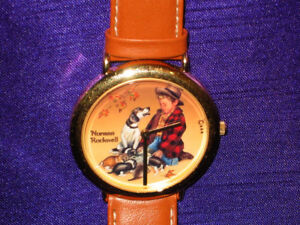 "NORMAN ROCKWELL  Adult Wrist Watch  ""A Boy and his Dog"""