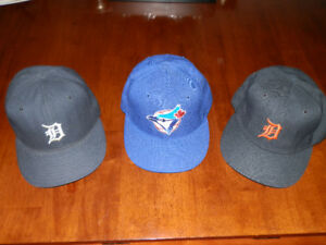 3 Official Game Used Baseball Caps-Blue Jays and Detroit Tigers