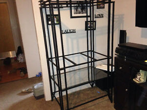 MUST GO!! Rought iron and glass shelving unit