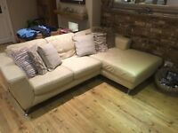 Cream leather settee 4 and 2 (DFS)