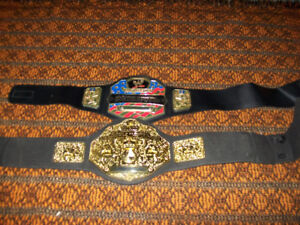 Lot of 2 WWE World Wrestling Entertainment Youth belts JAKKS