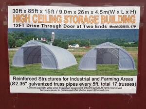 30 x 85 Heavy Duty Warehouse Storage Shelter