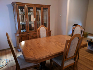 Solid Oak Dining Room Set - Table, Chairs and Cabinet
