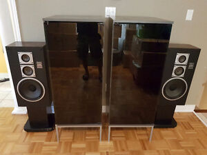 Home theater system cabinet with speakers