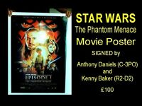 STAR WARS Film Poster Signed by ANTHONY DANIELS and KENNY BAKER