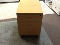 Wooden Office desk cabinet on castors 2 drawers Beech colour Madeley, Telford
