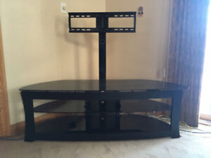 Metal frame TV stand w/black glass shelving- Great Deal