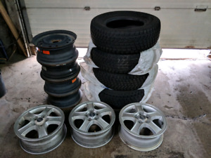 Winter tires 245/70/16 with 5 bolt rims and 3 mags.
