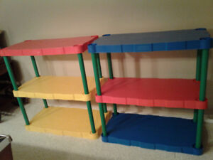 Kids stackable storage shelves