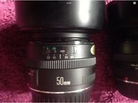 CANON EF 50mm F/1.8 MKI PRIME PORTRAIT LENS WITH CAPS AND HOOD