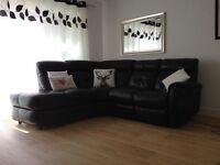DFS black leather sofa
