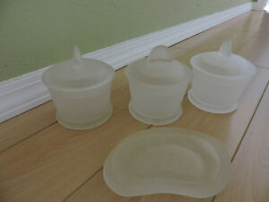 Soap Dish and Three Matching Containers with Lids