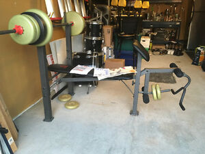 Workout bench with weights
