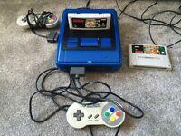 SNES console 2 controllers & 2 games custom blue/black Super Nintendo