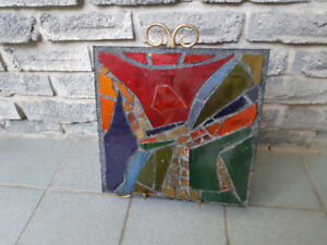 VINTAGE MOUNTED STAINED GLASS ART PANEL