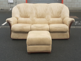 Taupe Italian Leather 3 Seater Sofa and Stool 🤩excellent condition 🤩