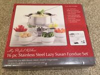16 pc Stainless Steel Lazy Susan Fondue Set - new and unopened