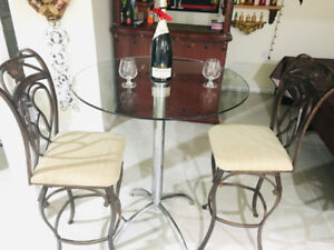 3 Piece Round Glass Pub Table Set with 2 Chairs $155