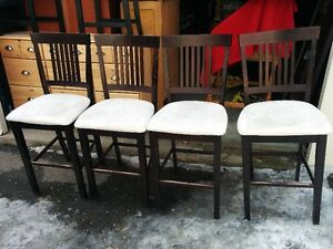 Set Of 4 Dark Brown Counter/Bar Height Chairs