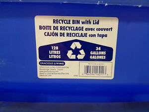BLUE RECYCLE BIN W/WHEELS 128 LITRE 33 GALLON WITH LID