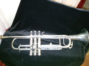 Trumpet Horn Instrument Antique Cornet France Brass silver plate