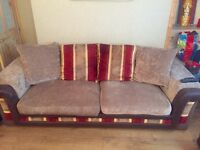 Large 3 Piece Sofa & Chair Including Foot Rests