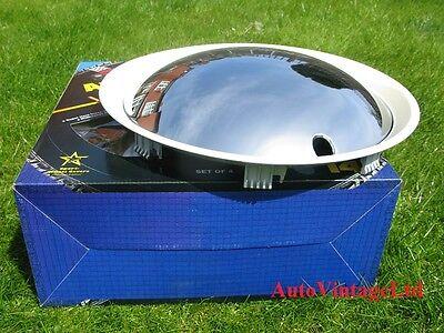 "14"" Wheel Trims Baby Moon CHROME-WHITE Hub Caps Full Covers Hubcaps SET OF 4"