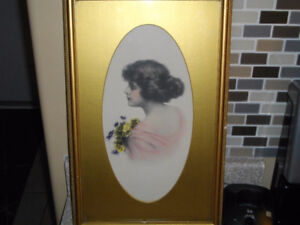 """ANTIQUE GLAMOUR GIRL OVAL PRINT BY """" ZULA KENYON """" ca.1920's"""