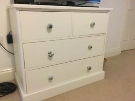 Chest of drawers, solid wood, cream painted