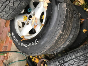 """set of aluminum jeep 15""""rims and tires"""