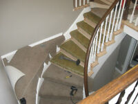 STAIRS CARPET INSTALLED BOX AND CAP STAIRS