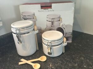 Mayfair & Jackson White Ceramic Canisters