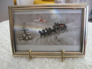 VINTAGE ['60's] SMALL-FRAMED WINTER PRINT with STAND-UP BACK