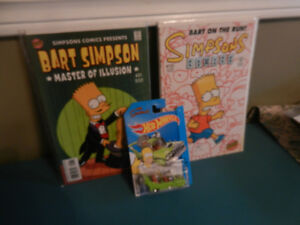 The Simpsons Comic Books and Hot Wheel Car Lot of 3 The Homer