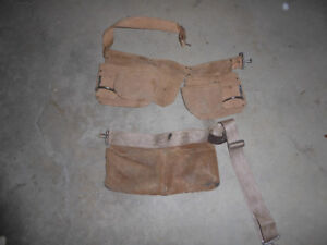 heavy duty leather carpenter tool belt and nail bag