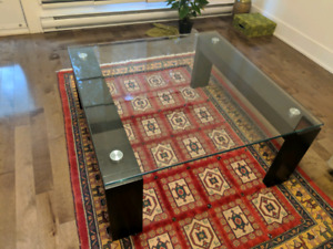Wood and Glass coffee table - excellent condition