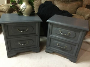 Pair of vintage nightstands just refinished in Platinum Gray