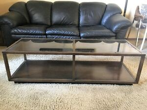 Smoked Glass Solid Wood Coffee Table